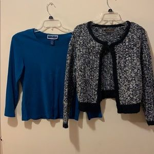 Women's Large cardigan & Blue Long sleeve top
